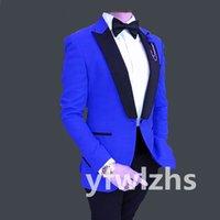 Handsome One Button Groomsmen Peak Lapel Groom Tuxedos Men Suits Wedding Prom Man Blazer ( Jacket+Pantst+Tie) Y315