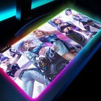 PC Kawaii Girl Gamer Gaming Decoration KDA League of Legends Seraphine Akali Kayn Lol Ashe RGB ماوس الوسادة LED اللاعبين الملحقات Y0308