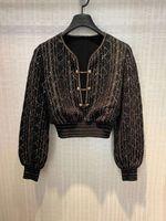 317 2021 Milán Estilo Suéter de Verano Marca Marca Mismo Estilo Regular Manga Larga V Cuello Kint Suéter Mujer Ropa Yiduo