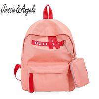 Backpack Jiessie&Angela Women Nylon Student School Bag Unisex Shoulder Teenagers Girls Travel Backpacks Waterproof Mochila