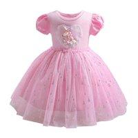 Vestidos de niña Baby Girls Party Princess Ropa Ropa para niños Ropa de verano Cordillo de algodón de Lace Unicornio de manga corta B5388