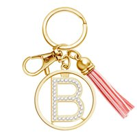 Gold Keychain Women Fashion 26 Alphabet Letters Alloy Key Chain Car Bag Accessories Charm Rhinestone Tassel Keyring Holder