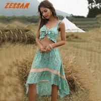 Vestido de duas peças Zessam arco ruffles floral impresso sutiã sutiã colheita mulheres sexy mulheres cintura elástica maxi longa saia rafle camis tops 2 peças conjunto