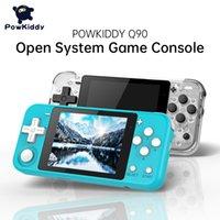 Powkiddy Q90 3 polegadas tela IPS Handheld Dual Sistema aberto Jogo Console 16 simuladores retro ps1 crianças presente 3d 10 pcs dhl