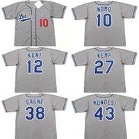 남자 로스 앤젤레스 10 Hideo Nomo 12 Jeff Kent 27 Matt Kemp 38 Eric Gagne 43 Raul Mondesi 55 Orel Hershiser Baseball Jersey 2006