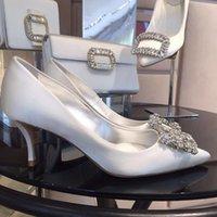 2021 Damen Silber Schwarz Frauen Braut Hochzeitsschuhe Faux Silk Satin Strass Kristall Shallow Pumps Stiletto 1