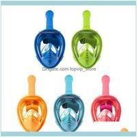 Masques Scuba OutdoorSkids Anti-Brouillard Full Full Full Face Snorkeling Masque Natation Matériel de soin de la plongée pour enfants Sports nautiques PC + Sile Drop D