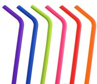 Pailles de silicone 24 Styles Food Grade Pli Boissons Boissons Silicone Cocktail Pailles Candy Couleur Straw Fournitures Straight HHC7224