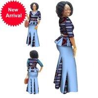 Roupas tradicionais 2 peças Set Mulheres Roupas Meia Manga Maxi Dress Dashiki Cópia Africana Saia Lenço Livre 6XL WY1435