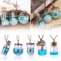 Rétro bleu mer océan mini bouteille verre pendentif collier sirène larmes shells star boat wishing bookrie bijoux cadeaux cadeaux