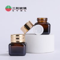 15g Brown Glass Small Square Bottle Cosmetic Clear Eye Cream Packaging Empty Jar with Golden Cap