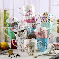 Mugs 450ml Bone Chine Fleur Tasse à café Tasse à thé Convient pour faire des boissons froides maison et cadeau de bureau femmes