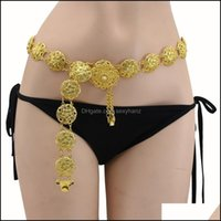 Belly Jewelry Jewelryrestoring Ancient Ways Sier Flowers Chain Hollow Carved Dance Beach Waist Decoration Body Chains Drop Delivery 2021 Suz