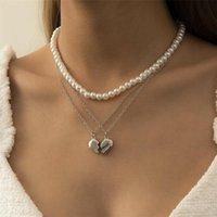 Geometrische Öffnung Herz Anhänger Halsketten Imitation Pearl Perlen Clavicle Ketten Frauen Multi Layer Legierung Dünne Kette Retro Schmuck Zubehör
