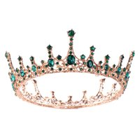 Vintage Baroque Green Crystal Round Queen Crown Wedding Tiara Bridal Diadem Gold Color Headpiece Dress Wedding Hair Accessories10 780 Q2