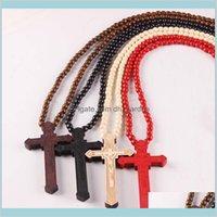 Pendentifs Drop Livraison 2021 Colliers de pendentif en bois Croix en bois Christian Religieux Crucifix Champs Chaînes perlées pour femmes Mode Mode bijoudr