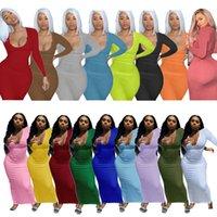 Женские платья дизайнер тонкий сексуальный длинный рукав сплошные длинные Maxi платья Vintge Vestidos Beach Party Club плюс размер бедра юбка S-XXXL 17 цветов