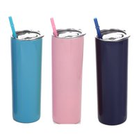 20oz Stainless Steel Tumblers Portable Car Thermos Cup Household Solid Color Water Cups With Straw 16 Colors