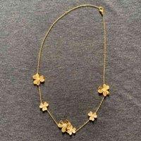 Bijoux en argent sterling de marque 925 pour femmes Gold Couleur Neckalce Pendentif Fleur Pendentif Croisière Sakura Collier de mariage
