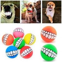 Lustige Haustiere Hund Welpen Katze Kugel Zähne Spielzeug PVC Kau Sound Hunde Spiel Raffing Squeeak Toys Pet Supplies Welpen Kugel Zähne Silikon Spielzeug