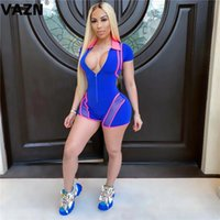 Women's Jumpsuits & Rompers VAZN 2021 Summer List Patchwork Energy Young Elastic Soft Sexy Fashion Short Sleeve Women Slim Tracksuits Playsu