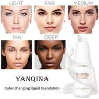 Yanqina 30ML تغيير لون الأساس السائل التحكم في النفط كريم ترطيب أسس ماكياج طويلة الأمد