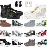 2021 Varış Kırmızı Dipleri Rahat Ayakkabılar Erkekler Kadınlar Platformu Tasarımcısı Mavi Süet Spikes Siyah Luxurys Deri Alt Eğitmenler Sneakers EUR 36-47