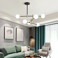 Pendant Lamps Nordic LED Chandelier Modern Line Creative Molecular Glass Ball Hanging Lamp Living Room Bedroom Magic Beans Hang Light Fixtur