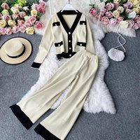 Women's Two Piece Pants Vintage Winter Women Knitted V-neck Sets Ladies Casual Solid Cardigan Sweater & Wide Leg Famale Urban Clothing