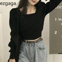 Ezgaga Hauts Tops Femmes Automne Hiver 2021 Collier carré Crop Sexy Crop Slim Pull mince Pull Sweaters Femme Élégante Femmes Pulls