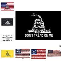 Newhome 2-я поправка Винтаж Американский флаг Не наступить на меня Баннеры 90 см * 150см Полиэстер пользовательских США Колледж Баскетбол флаги Морской корабль