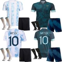 2021 2122 Argentinien Erwachsene Fussball Jerseys Shorts Socken Full Uniform Set Kits Dybala Kun Aguero Messi 21 22 Argentinische Männer Kind Nationalmannschaft Fussball Hemden Anzug