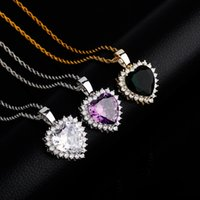 Love Heart Necklaces Fashion Gold Silver Color Men Women Pendant Necklaces Luxury Big Size Heart Zircon Hip Hop Necklaces 3483 Q2