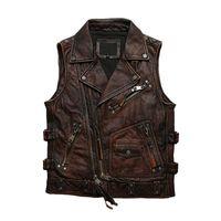 Gilets pour hommes 2021 Vintage Moto Moto Style Véritable Vest Vest Hommes Plus Taille 5XL Véritable Véritable Naturel Cowhure Spring Slim Court manteau court