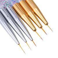 Nail Art Kits 3Pcs Acrylic French Stripe Liner Brush Set 3D Tips Manicure Ultra-thin Line Drawing Pen UV Gel Brushes Painting Tools