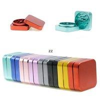 8 Farben Square Rauchschleifer 55mm Mini Tragbarer Haushalt Raucherzubehör 2 Ebenen Metall-Tabakmühlen HWA7322