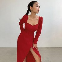 Casual Dresses Women Sexy Bodycon Strapless Split Long Sleeve Knee Length Dress Ladies Elegant Party Fashion Solid Prom Gown
