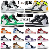 Zapatillas de baloncesto Twist de alta calidad 1 1s Lucky Green Volt Gold Mens Womens Jumpman Sport Mid Smoke Grey Obsidian UNC Entrenadores Sneakers 36-46