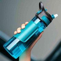 Bouteille d'eau Uzspace avec paille Creative Mode portable étanche Shaker Sport extérieur bouteille de voyage Ecofrienly BPA gratuit 210917