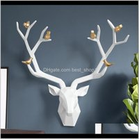 Novelty Items Décor Garden Drop Delivery 2021 Resin 3D Big Deer Home For Statue Decoration Accessories Abstract Sculpture Modern Animal Head