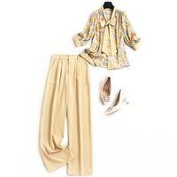 pantolon moda şık lady tasarımcılar ofis iki adet kadın giyim çiçek yay yaka izlenim bluz ve takım elbise pantolon