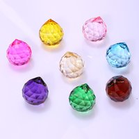 30mm colorido bola de cristal prism suncatcher cristal arco-íris pingentes fabricante de cristais de suspensão prismas para Windows GWB8936