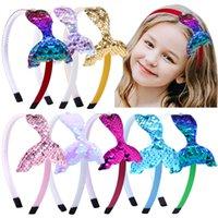 DHL GRATUIT Baby Girls Hair Bows Accessoires Paillettes Sirène Bandeaux réversibles pour Fille Rainbow Imitation Perles Bandes de cheveux Fournitures Enfants Enfants Enfants
