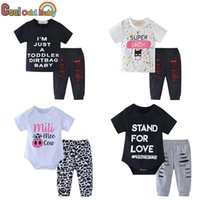 Clothing Sets Summer Infant Baby Boys Girls Clothes Set Fashion Born Toddler Short Sleeve Letter Print Tops Pants Casual Outfits
