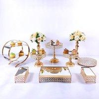 다른 bakeware 7-11pcs / lot 생일 장식을위한 둥근 케이크 홀더 크리스탈 투명 스탠드 결혼식 공급