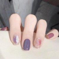 False Nails 24PCS Full Cover Fake Detachable Wearable Manicure Purple Pink Glitter Dye Nail Tips Stick On Art Design