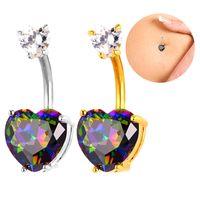 Designer Body Body Jewelry Zirconia Crystal Heart Belly Bottone Anello Donne Platino / 18 carati Placcato oro Piercing Piercing Nombrillo