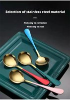 Spoons Nordic Style 410 Stainless Steel Round Spoon Creative Household Gold-plated Color Tableware Dessert Gift