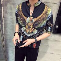Summer New Thin Male Sleeve Easing Printing Edition Leisure Casual Rayon Three Quarter Mandarin Collar Men Mens Shirts 2019