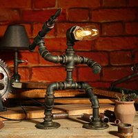 Table Lamps Antique Retro Vintage Personality Black Metal Water Pipe Lamp Industrial Desk For Bedroom Bedside Nightstand (Down)